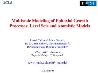 Multiscale Modeling of Epitaxial Growth Processes: Level Sets and Atomistic Models