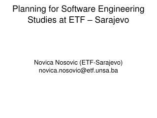 Planning for Software Engineering Studies at ETF – Sarajevo