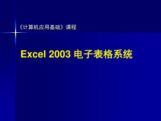 Excel 2003  电子表格系统