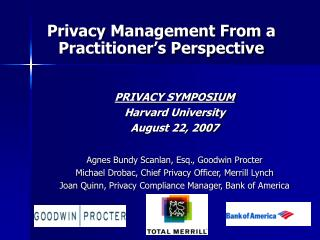 Privacy Management From a Practitioner's Perspective