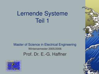 Lernende Systeme Teil 1