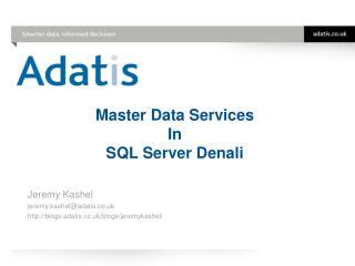 Master Data Services In SQL Server Denali