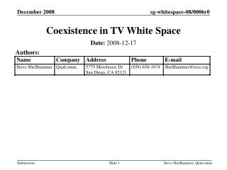 Coexistence in TV White Space