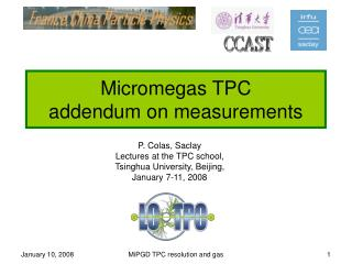 Micromegas TPC addendum on measurements