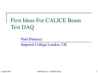 First Ideas For CALICE Beam Test DAQ