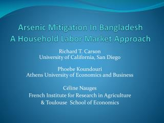 Arsenic Mitigation In Bangladesh A Household Labor Market Approach
