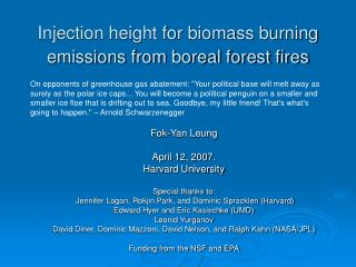 Injection height for biomass burning emissions from boreal forest fires