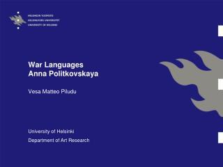 War Languages Anna Politkovskaya