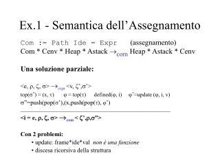 Ex.1 - Semantica dell�Assegnamento
