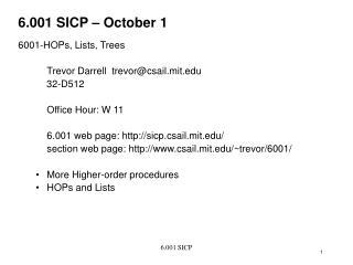 6.001 SICP – October 1