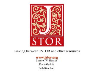 Linking between JSTOR and other resources