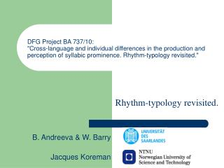 Rhythm-typology revisited.
