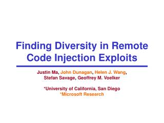 Finding Diversity in Remote Code Injection Exploits