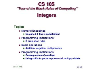 "CS 105  "" Tour of the Black Holes of Computing """