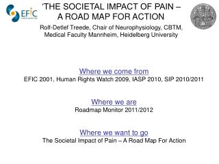Where we come from EFIC 2001, Human Rights Watch 2009, IASP 2010, SIP 2010/2011 Where we are