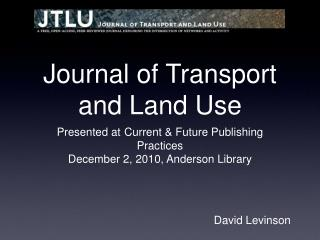 Journal of Transport and Land Use