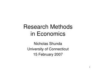 Research Methods  in Economics