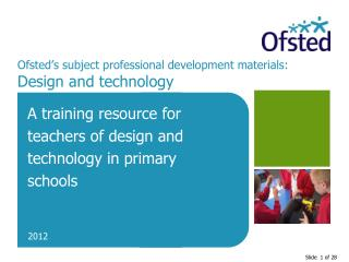 Ofsted's subject professional development materials:  Design and technology