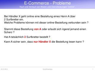 """E-Commerce - Probleme Kauf und Verkauf von Waren und Dienstleistungen """"online""""."""
