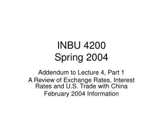 INBU 4200 Spring 2004