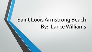 Saint Louis Armstrong Beach By:  Lance Williams