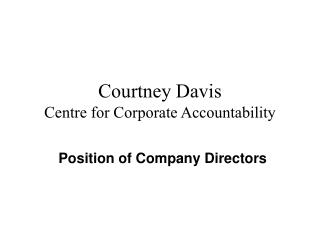 Courtney Davis Centre for Corporate Accountability