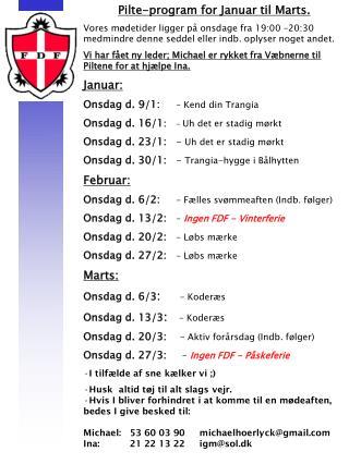 Pilte-program for Januar til Marts.