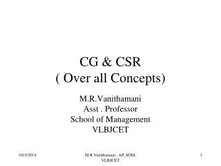 CG & CSR  ( Over all Concepts)