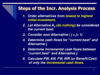 Order alternatives from  lowest to highest initial investment.