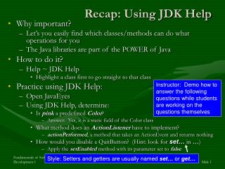 Recap: Using JDK Help