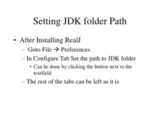 Setting JDK folder Path