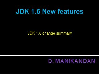 JDK 1.6 change summary