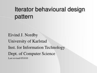 Iterator behavioural design pattern