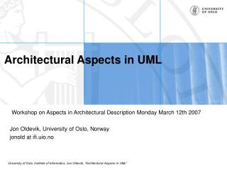Architectural Aspects in UML
