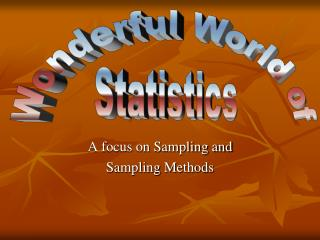 A focus on Sampling and Sampling Methods