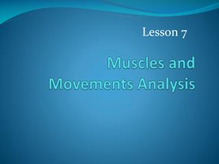Muscles and Movements Analysis