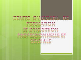 centre  d'accueil,  de formation  et d'insertion  professionnelle et sociale