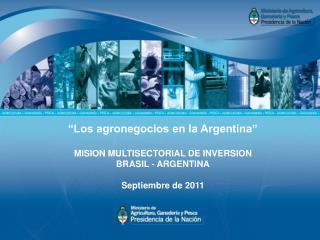 """""""Los agronegocios en la Argentina """" MISION MULTISECTORIAL DE INVERSION BRASIL - ARGENTINA"""