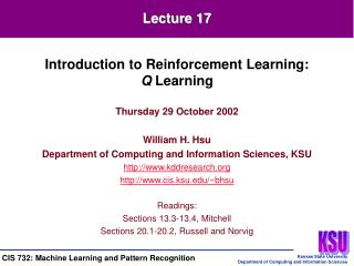 Thursday 29 October 2002 William H. Hsu Department of Computing and Information Sciences, KSU