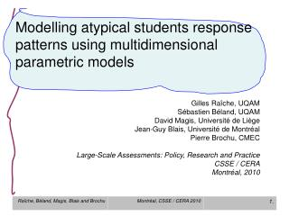 Modelling atypical students response patterns using multidimensional parametric models