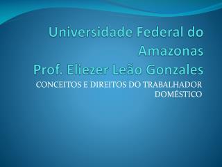 Universidade Federal do Amazonas Prof. Eliezer Leão Gonzales
