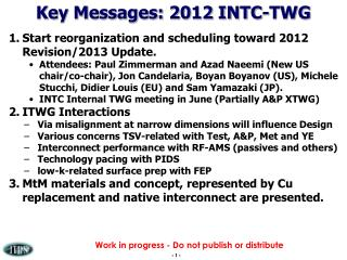 Key Messages: 2012 INTC-TWG