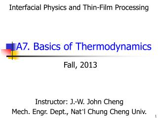 A7. Basics of Thermodynamics