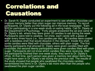 Correlations and Causations