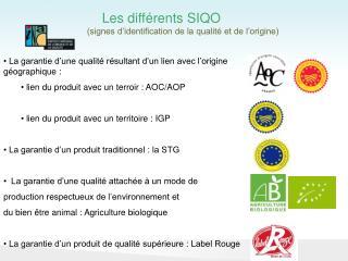 Les différents SIQO (signes d'identification de la qualité et de l'origine)