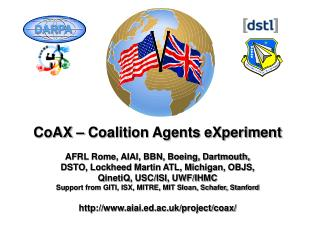 CoAX – Coalition Agents eXperiment AFRL Rome, AIAI, BBN, Boeing, Dartmouth,