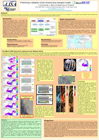 Preliminary validation of the mineral dust transport model