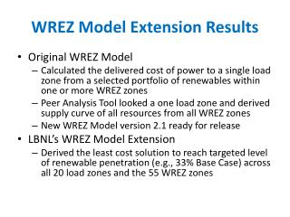 WREZ Model Extension Results