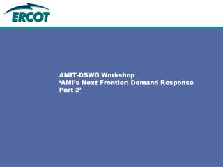 AMIT-DSWG Workshop 'AMI's Next Frontier: Demand Response Part 2'