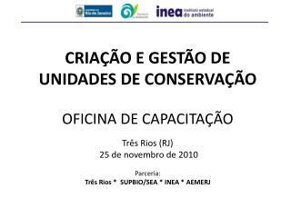 Criação e Gestão de Unidades de Conservação Oficina de Capacitação  Três Rios (RJ)